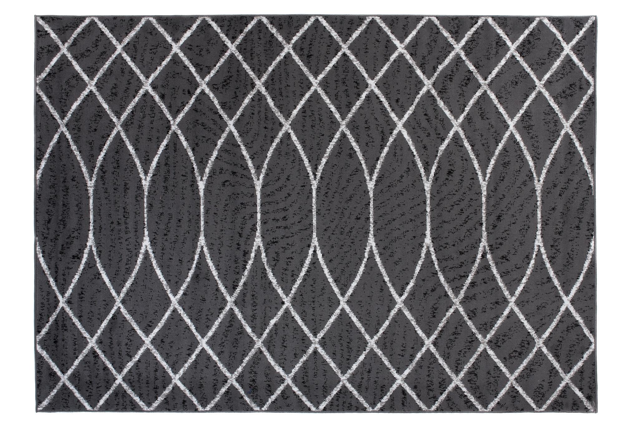 Dywan nowoczesny C429A DARK GRAY/ BALI PP biały