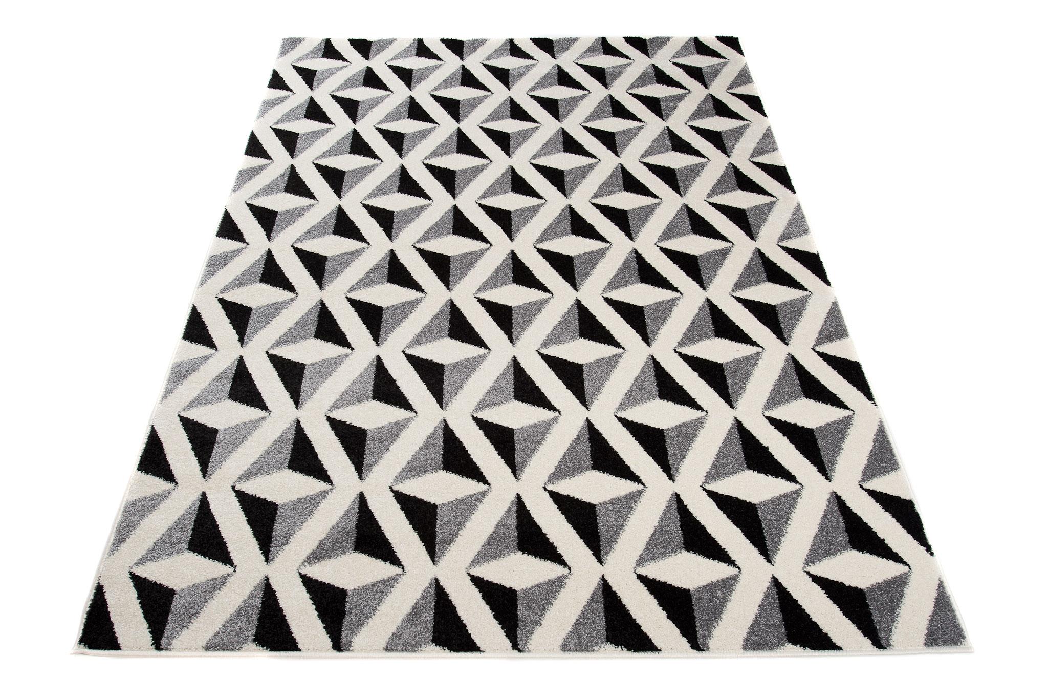 tapiso teppiche geometrische muster zick zack 3d karo kurzflor teppich modern meliert wohnzimmer. Black Bedroom Furniture Sets. Home Design Ideas