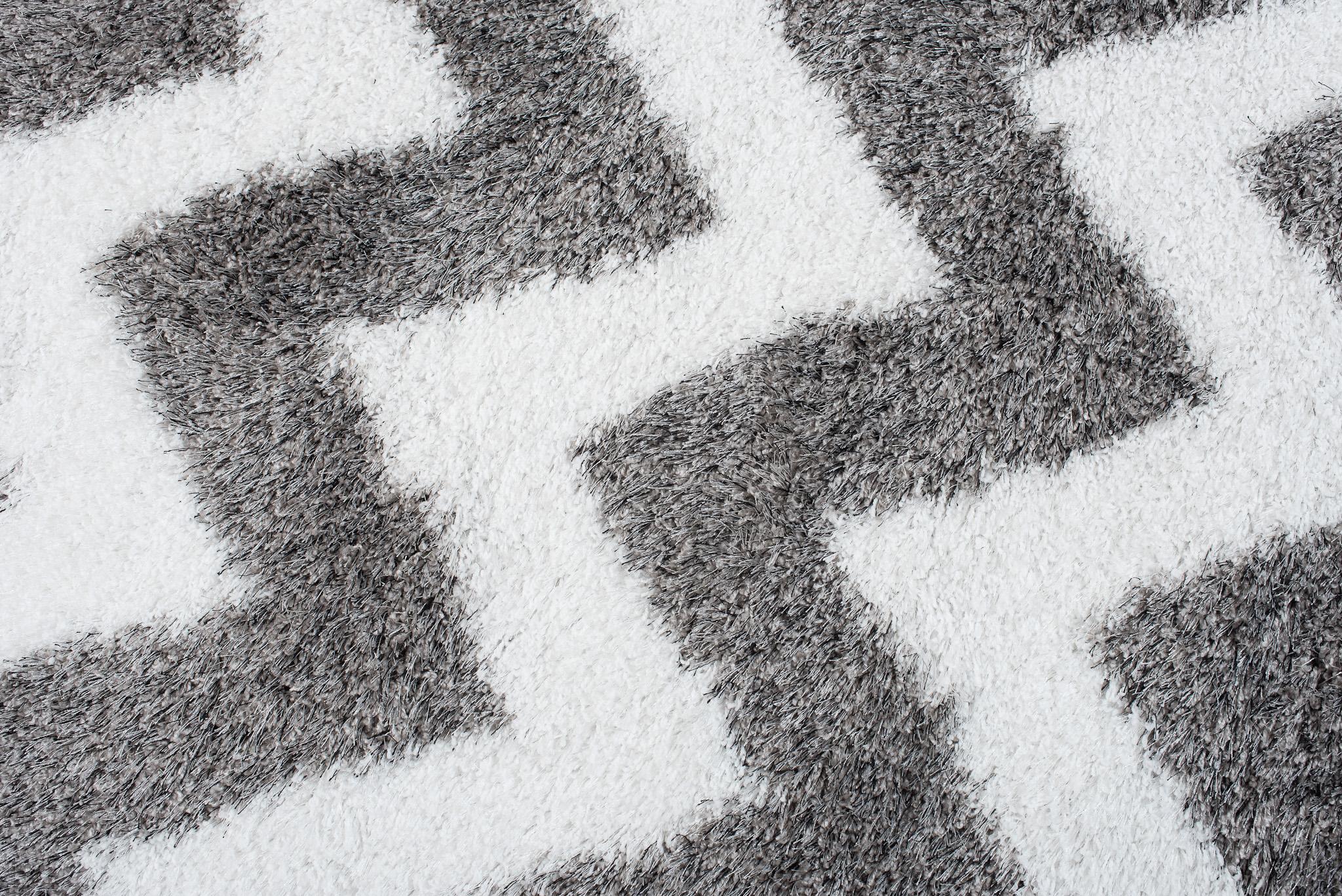 tapiso optimal teppich shaggy modern hochflor in weiss grau mit designer geometrisch zick. Black Bedroom Furniture Sets. Home Design Ideas