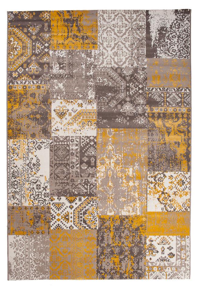 TAPISO VERSE Teppich Kurzflor Modern Orient Patchwork Karo Designer Muster  Farbe Gelb Braun Shabby Chic Style Wohnzimmer   Tapiso.de   Online Shop, ...
