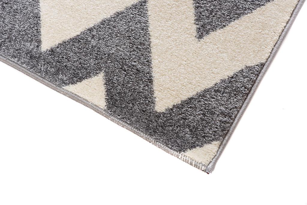 l ufer br cke flur teppich muster zig zag modern in grau online shop teppiche und. Black Bedroom Furniture Sets. Home Design Ideas