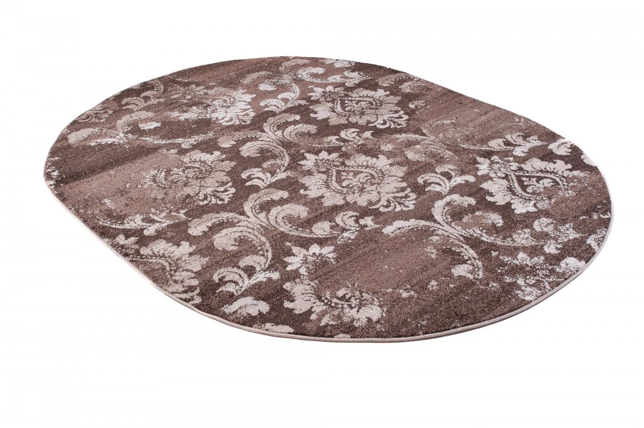 teppich wohnzimmer oval teppiche meliert kurzflor muster ornamente farbe braun qualit t neu. Black Bedroom Furniture Sets. Home Design Ideas