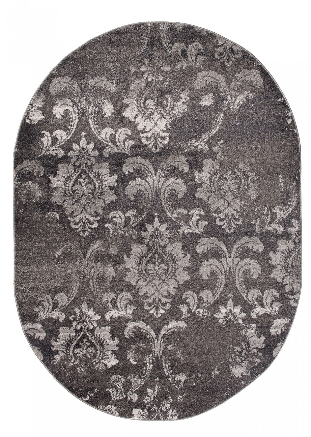 teppich wohnzimmer oval teppiche meliert kurzflor muster ornamente farbe grau qualit t neu. Black Bedroom Furniture Sets. Home Design Ideas