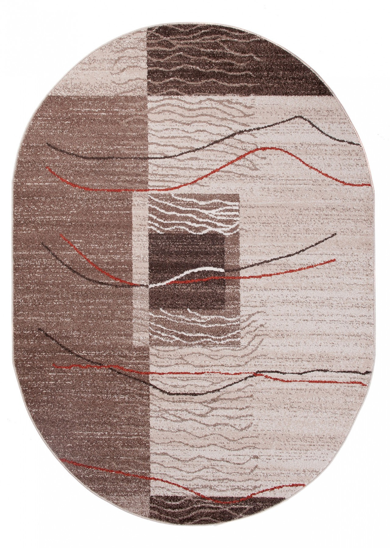 teppich wohnzimmer oval teppiche meliert kurzflor muster streifen farbe creme qualit t neu. Black Bedroom Furniture Sets. Home Design Ideas
