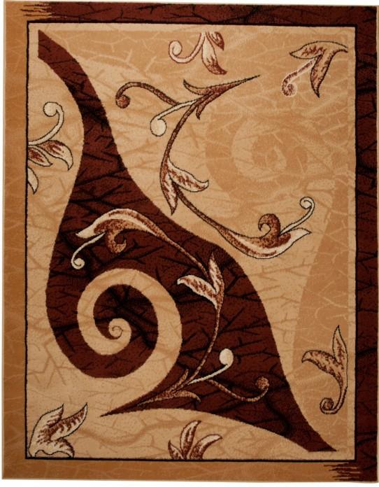 TAPISO ATLAS Teppich Kurzflor | Designer Teppich in Beige Braun Hellbraun mit Modern Abstrakt Floral Blumen Muster | Perfekt für Wohnzimmer, Esszimmer, Gästezimmer | ÖKOTEX