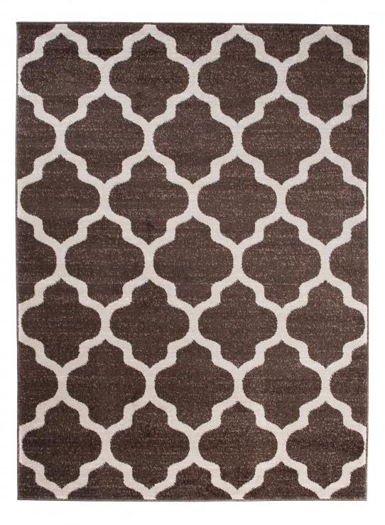 TAPISO MAROKO Teppich Kurzflor Modern Designer Geometrisch Marokkanisch Gitter Muster Braun Creme Wohnzimmer ÖKOTEX