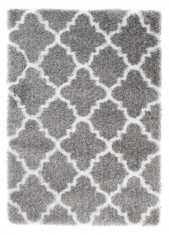 TAPISO Optimal Teppich Shaggy Hochflor Modern Langflor Grau Weiß Marokkanisch Geometrisch Gitter Wohnzimmer Schlafzimmer ÖKOTEX