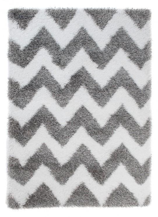 TAPISO Optimal Teppich Shaggy Hochflor Modern Langflor Grau Weiß Geometrisch Zig Zag Streifen Wohnzimmer Schlafzimmer ÖKOTEX