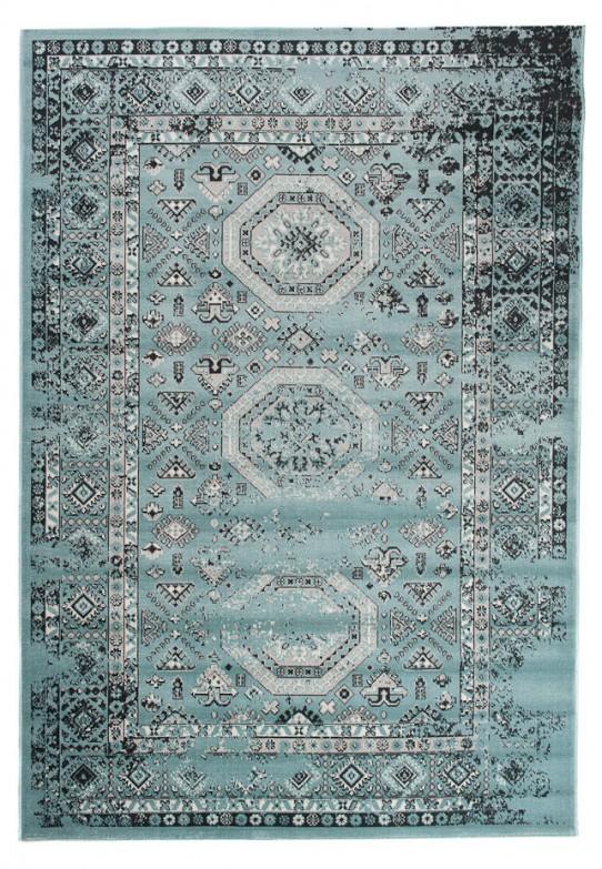 TAPISO VERSE Teppich Kurzflor Modern Vintage Orient Ornament Designer Muster Farbe Türkis Hellblau Bordüre Shabby Chic Style Wohnzimmer