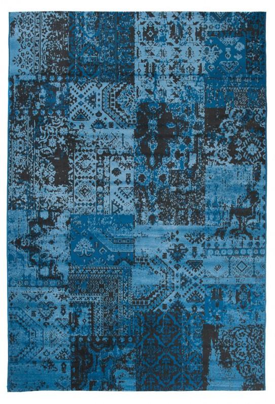 TAPISO VERSE Teppich Kurzflor Modern Orient Patchwork Karo Designer Muster Farbe Blau Shabby Chic Style Wohnzimmer