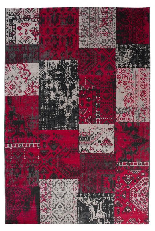TAPISO VERSE Teppich Kurzflor Modern Orient Patchwork Karo Designer Muster Farbe Rot Grau Shabby Chic Style Wohnzimmer