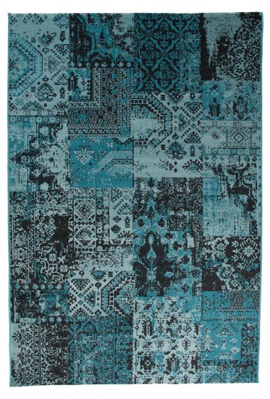 TAPISO VERSE Teppich Kurzflor Modern Orient Patchwork Karo Designer Muster Farbe Türkis Shabby Chic Style Wohnzimmer