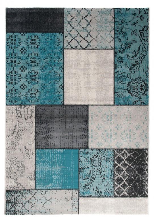 TAPISO VERSE Teppich Kurzflor Modern Orient Patchwork Karo Designer Muster Farbe Türkis Grau Shabby Chic Style Wohnzimmer