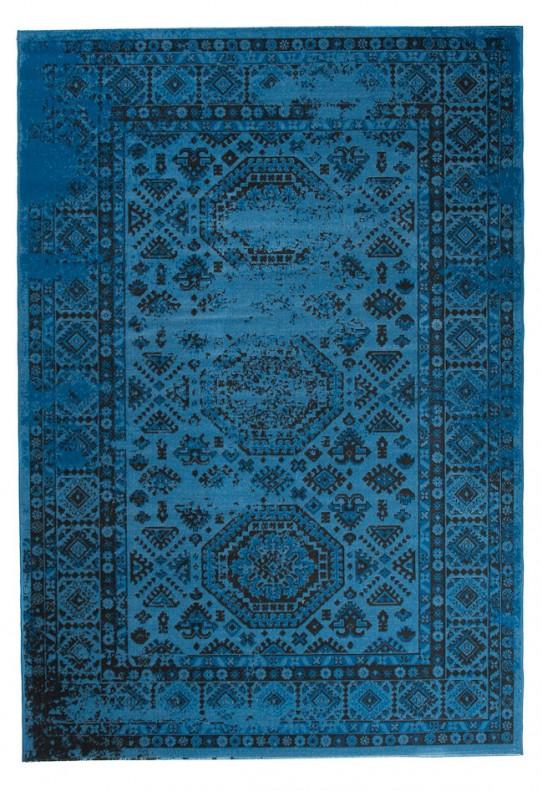 TAPISO VERSE Teppich Kurzflor Modern Vintage Orient Ornament Designer Muster Farbe Blau Bordüre Shabby Chic Style Wohnzimmer