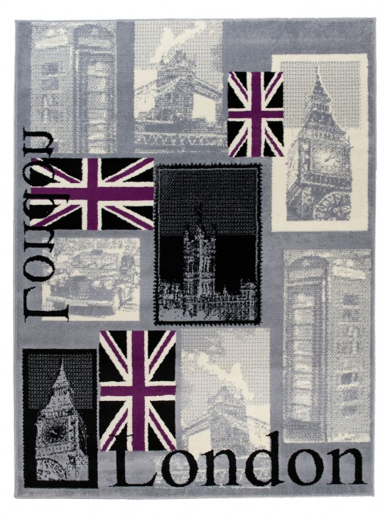 TAPISO® SCARLET Teppich Kurzflor | Modern London Teppiche mit Designer Big Ben Muster in Grau Mehrfarbig | Ideal für Wohnzimmer, Schlafzimmer | ÖKOTEX