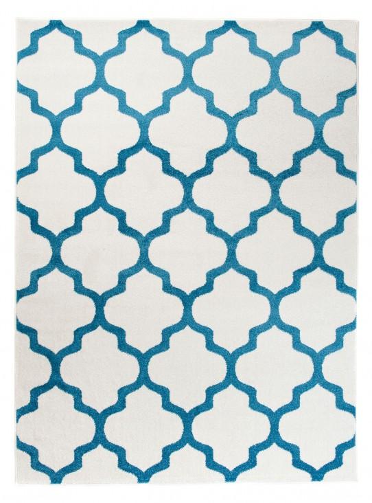 TAPISO MAROKO Teppich Kurzflor Modern Designer Geometrisch Marokkanisch Gitter Muster Creme Blau Wohnzimmer ÖKOTEX