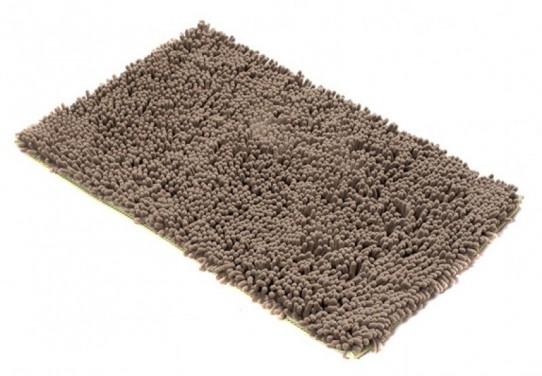 TAPISO Chenille Teppich Mikrofaser Badematte Badezimmer Badevorleger Badeteppich Hochflor Langflor Rutschfest Beige Braun Weich Polyester