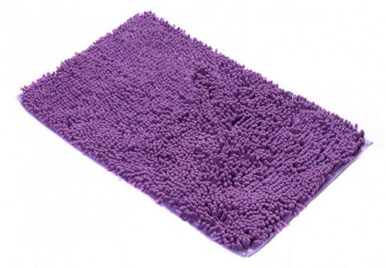 TAPISO Chenille Teppich Mikrofaser Badematte Badezimmer Badevorleger Waschbar Hochflor Langflor Rutschfest Violett Weich Polyester
