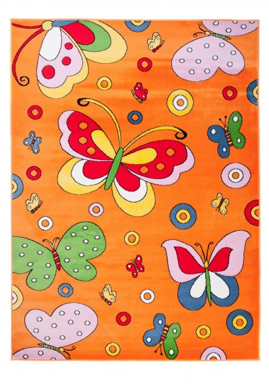 Kinderteppich in Orange KINDERZIMMER Teppich FÜR KINDER - MUSTER Schmetterling - OEKOTEX